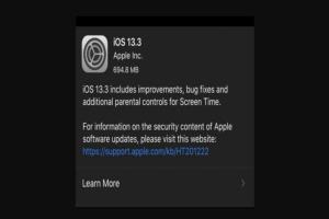 Apple iOS 13.3 update