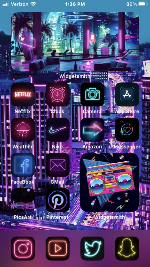 Best Aesthetic Neon iOS 14 Home Screen Ideas For Nostalgia ...