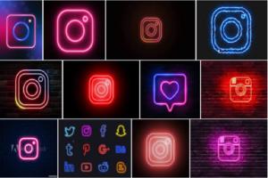 neon instagram logo