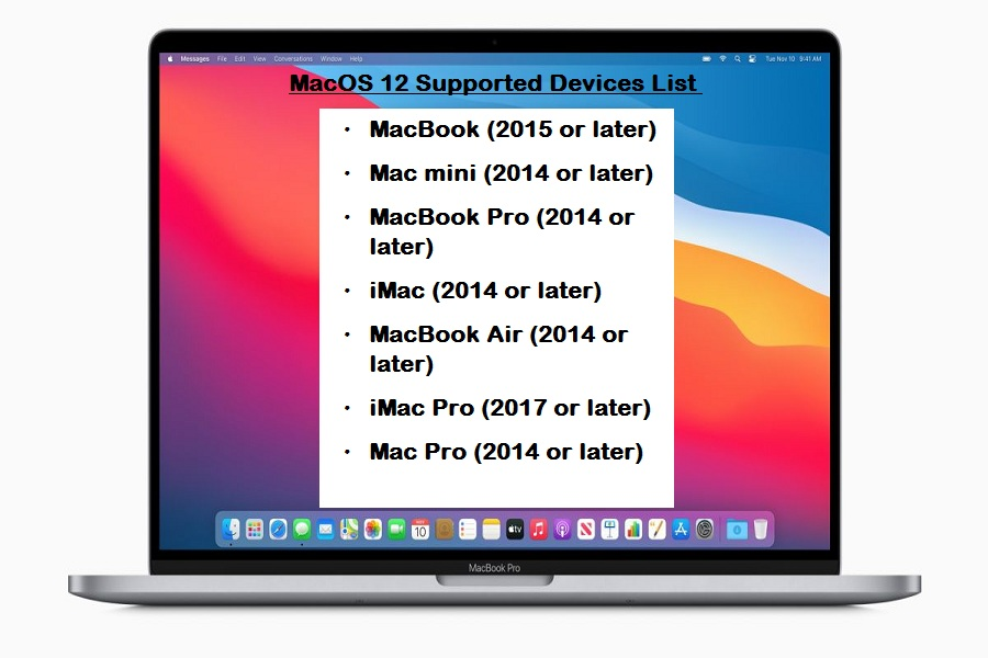 MacOS 12 Supported Devices